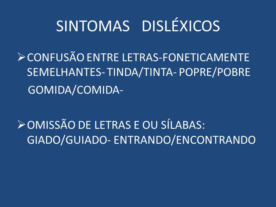 SINTOMAS DISLÉXICOS CONFUSÃO ENTRE LETRAS-FONETICAMENTE SEMELHANTES- TINDA/TINTA- POPRE/POBRE GOMIDA/COMIDA- OMISSÃO DE LETRAS E OU SÍLABAS: GIADO/GUIADO- ENTRANDO/ENCONTRANDO