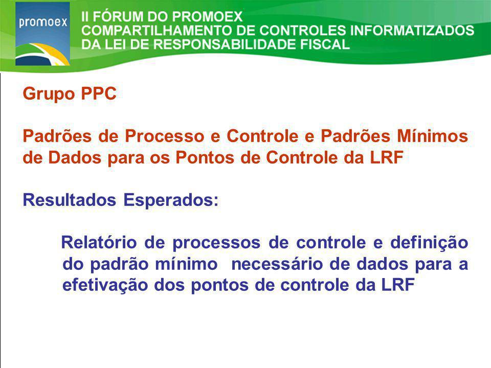 Promoex 1.5. Resultado Primário estabelecido na LDO - Art. 4 §1º e Art. 9º LRF II FÓRUM DO PROMOEX Grupo PPC Padrões de Processo e Controle e Padrões