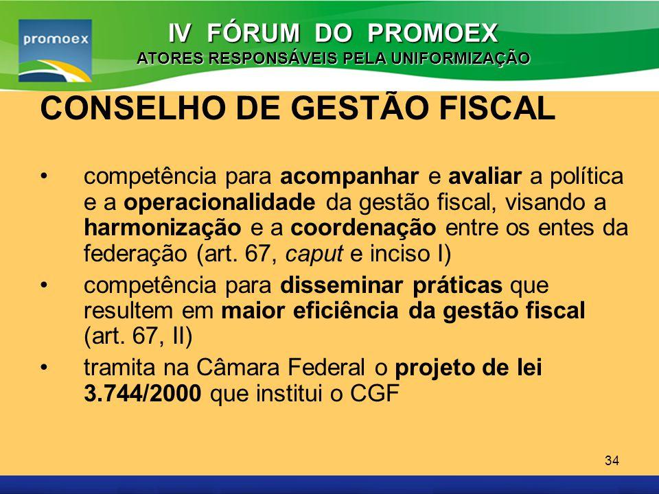 Promoex 34 CONSELHO DE GESTÃO FISCAL competência para acompanhar e avaliar a política e a operacionalidade da gestão fiscal, visando a harmonização e