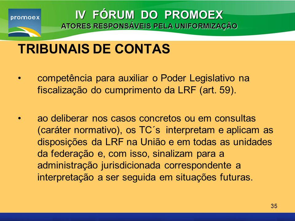 Promoex 35 TRIBUNAIS DE CONTAS competência para auxiliar o Poder Legislativo na fiscalização do cumprimento da LRF (art. 59). ao deliberar nos casos c