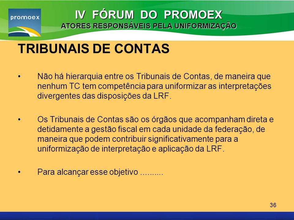 Promoex 36 TRIBUNAIS DE CONTAS Não há hierarquia entre os Tribunais de Contas, de maneira que nenhum TC tem competência para uniformizar as interpreta