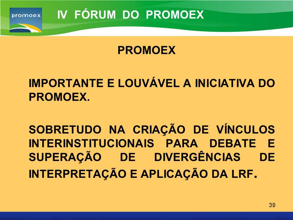 Promoex 39 PROMOEX IMPORTANTE E LOUVÁVEL A INICIATIVA DO PROMOEX. SOBRETUDO NA CRIAÇÃO DE VÍNCULOS INTERINSTITUCIONAIS PARA DEBATE E SUPERAÇÃO DE DIVE