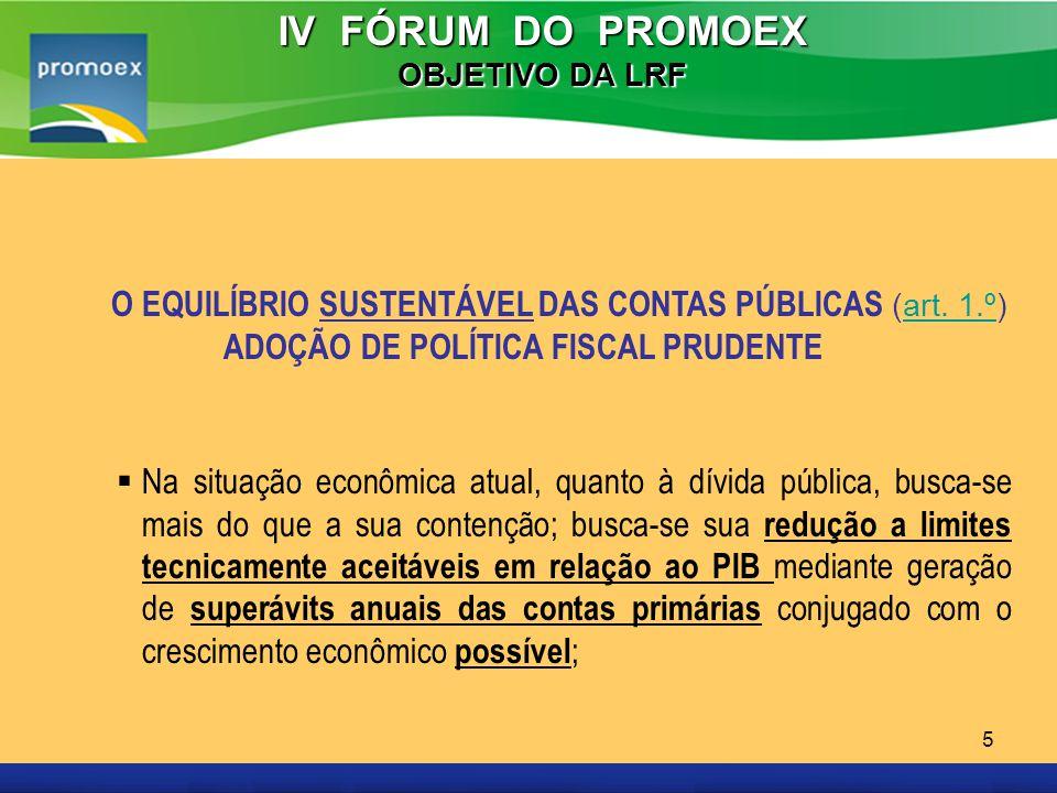 Promoex 5 IV FÓRUM DO PROMOEX OBJETIVO DA LRF O EQUILÍBRIO SUSTENTÁVEL DAS CONTAS PÚBLICAS (art. 1.º)art. 1.º ADOÇÃO DE POLÍTICA FISCAL PRUDENTE Na si
