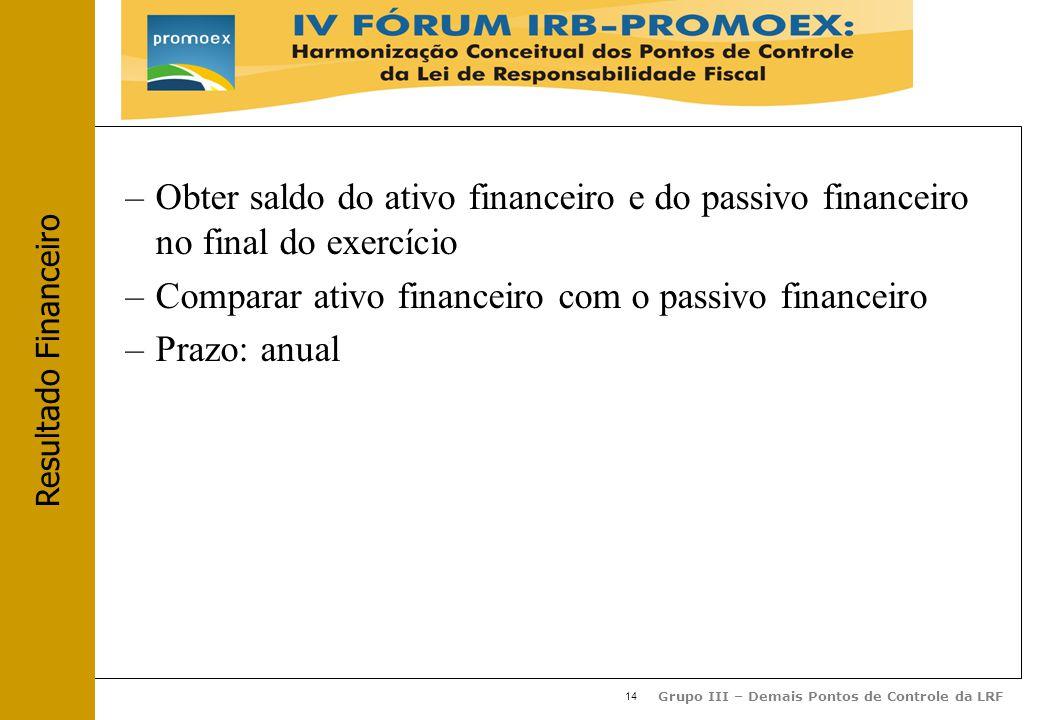 14 Grupo III – Demais Pontos de Controle da LRF –Obter saldo do ativo financeiro e do passivo financeiro no final do exercício –Comparar ativo financeiro com o passivo financeiro –Prazo: anual Resultado Financeiro