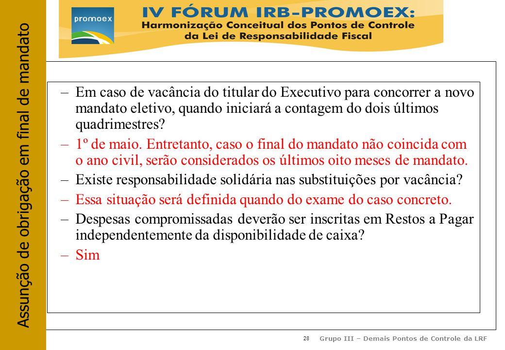 28 Grupo III – Demais Pontos de Controle da LRF –Em caso de vacância do titular do Executivo para concorrer a novo mandato eletivo, quando iniciará a contagem do dois últimos quadrimestres.