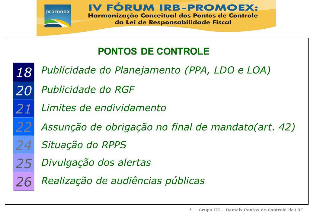 3 Grupo III – Demais Pontos de Controle da LRF Publicidade do Planejamento (PPA, LDO e LOA) 20 21 22 24 25 26 Publicidade do RGF Limites de endividamento Assunção de obrigação no final de mandato(art.