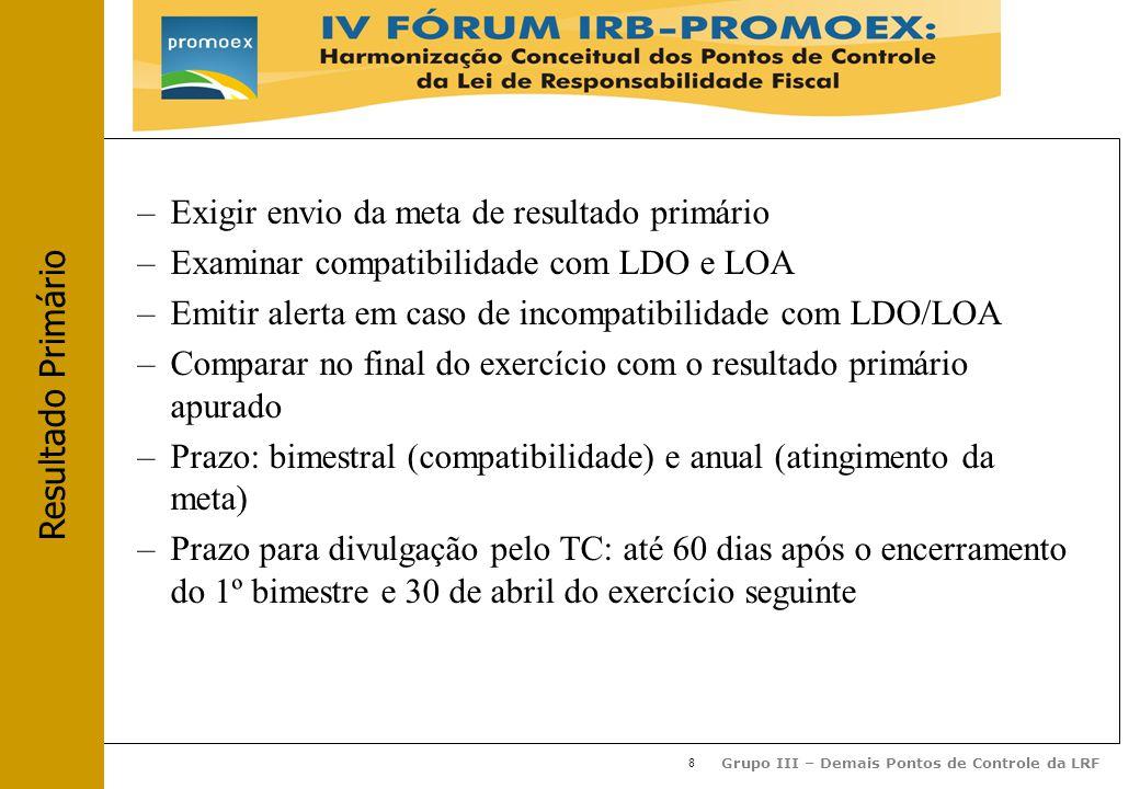 8 Grupo III – Demais Pontos de Controle da LRF –Exigir envio da meta de resultado primário –Examinar compatibilidade com LDO e LOA –Emitir alerta em caso de incompatibilidade com LDO/LOA –Comparar no final do exercício com o resultado primário apurado –Prazo: bimestral (compatibilidade) e anual (atingimento da meta) –Prazo para divulgação pelo TC: até 60 dias após o encerramento do 1º bimestre e 30 de abril do exercício seguinte Resultado Primário
