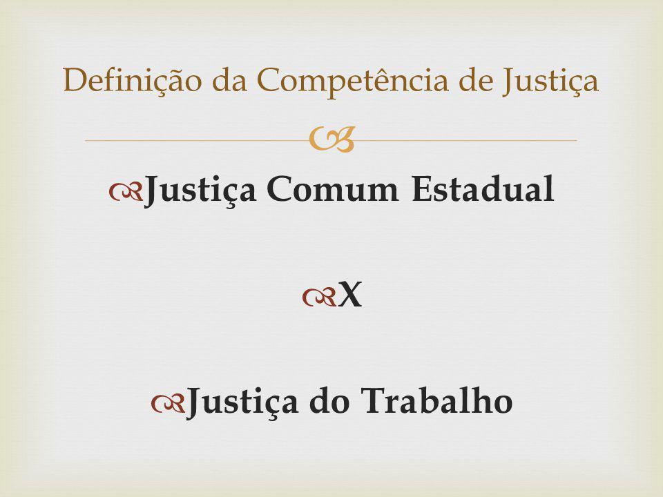 Justiça Comum Estadual X Justiça do Trabalho Definição da Competência de Justiça