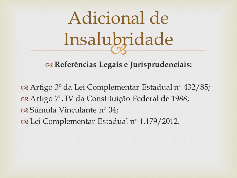 Referências Legais e Jurisprudenciais: Artigo 3º da Lei Complementar Estadual n o 432/85; Artigo 7º, IV da Constituição Federal de 1988; Súmula Vincul