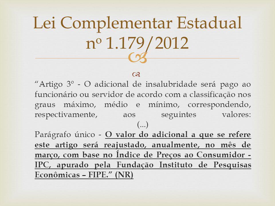 Artigo 3º - O adicional de insalubridade será pago ao funcionário ou servidor de acordo com a classificação nos graus máximo, médio e mínimo, correspo