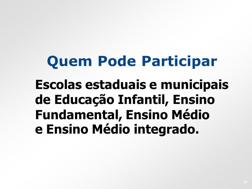 Quem Pode Participar Escolas estaduais e municipais de Educação Infantil, Ensino Fundamental, Ensino Médio e Ensino Médio integrado. 11