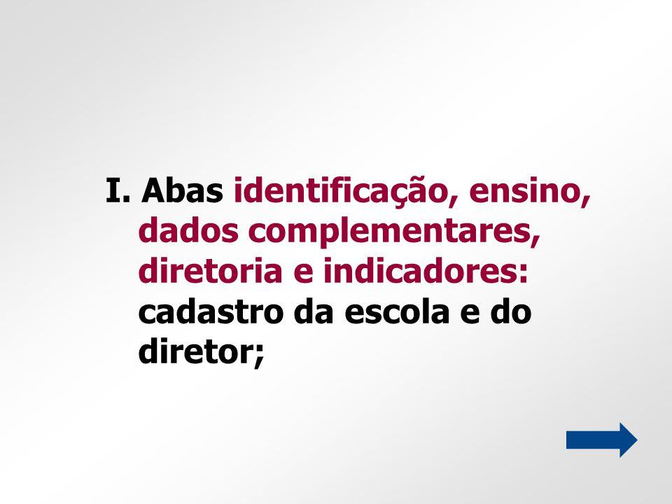 I. Abas identificação, ensino, dados complementares, diretoria e indicadores: cadastro da escola e do diretor;