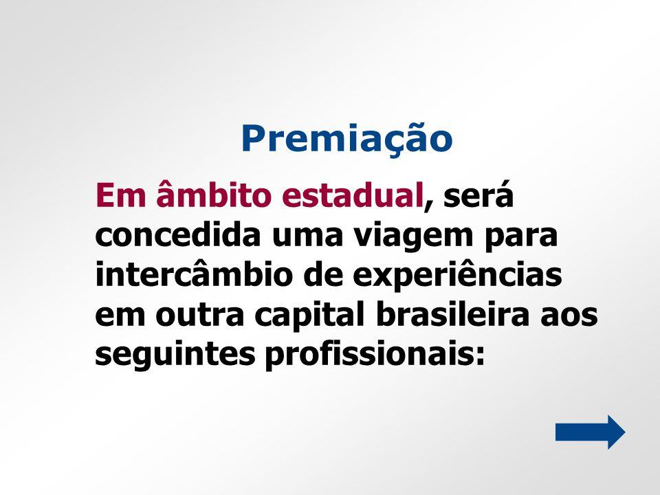 Premiação Em âmbito estadual, será concedida uma viagem para intercâmbio de experiências em outra capital brasileira aos seguintes profissionais: