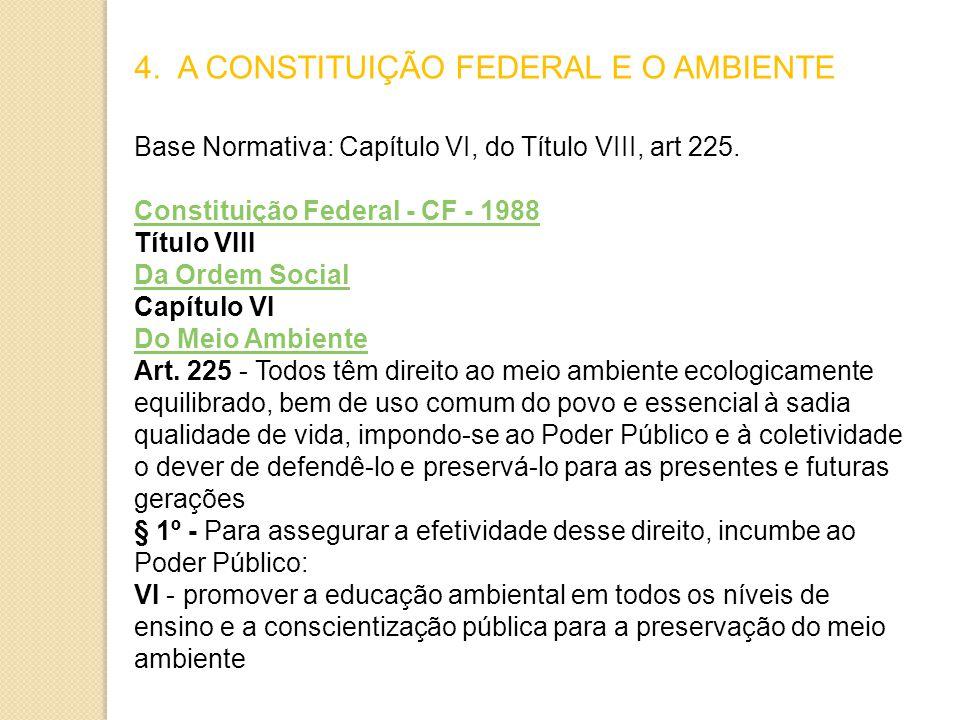 4.A CONSTITUIÇÃO FEDERAL E O AMBIENTE Base Normativa: Capítulo VI, do Título VIII, art 225.