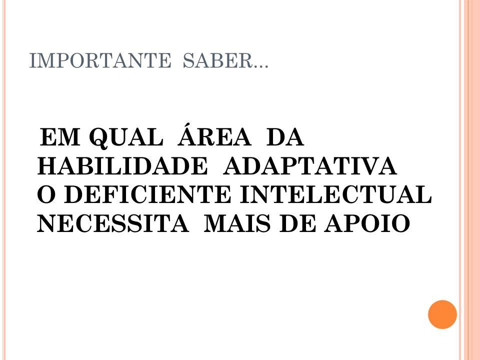 IMPORTANTE SABER... EM QUAL ÁREA DA HABILIDADE ADAPTATIVA O DEFICIENTE INTELECTUAL NECESSITA MAIS DE APOIO