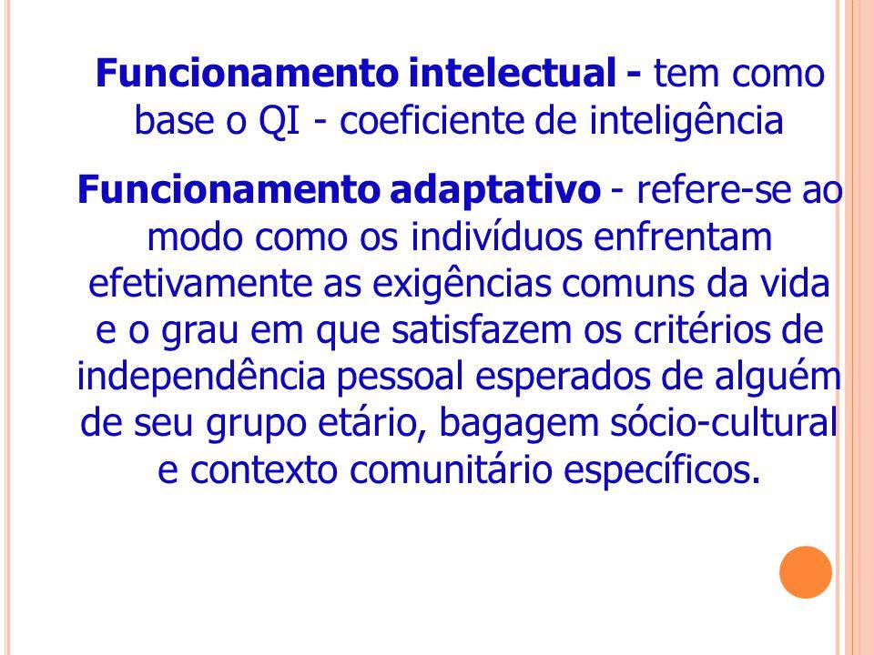 Funcionamento intelectual - tem como base o QI - coeficiente de inteligência Funcionamento adaptativo - refere-se ao modo como os indivíduos enfrentam efetivamente as exigências comuns da vida e o grau em que satisfazem os critérios de independência pessoal esperados de alguém de seu grupo etário, bagagem sócio-cultural e contexto comunitário específicos.