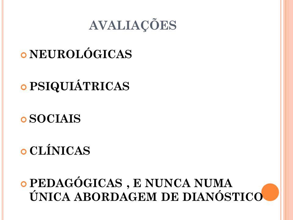 AVALIAÇÕES NEUROLÓGICAS PSIQUIÁTRICAS SOCIAIS CLÍNICAS PEDAGÓGICAS, E NUNCA NUMA ÚNICA ABORDAGEM DE DIANÓSTICO
