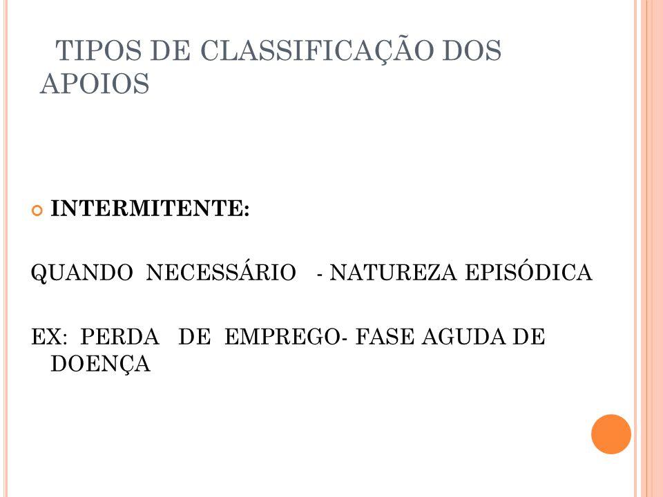 TIPOS DE CLASSIFICAÇÃO DOS APOIOS INTERMITENTE: QUANDO NECESSÁRIO - NATUREZA EPISÓDICA EX: PERDA DE EMPREGO- FASE AGUDA DE DOENÇA