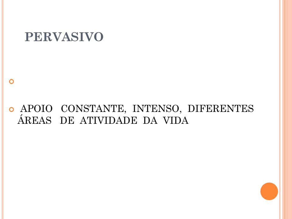 PERVASIVO APOIO CONSTANTE, INTENSO, DIFERENTES ÁREAS DE ATIVIDADE DA VIDA