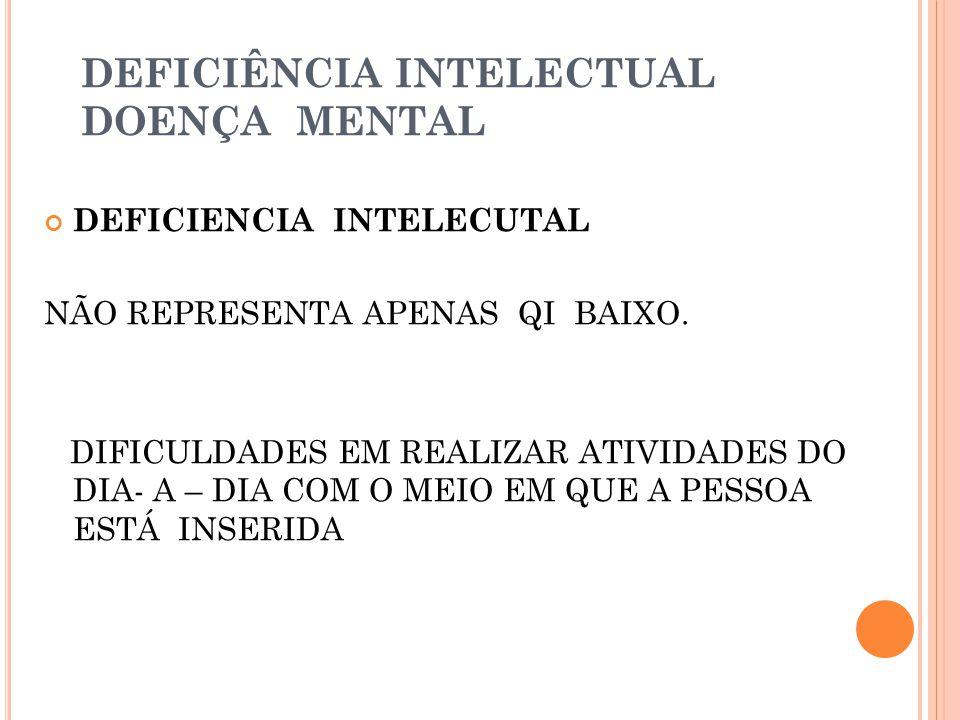 DEFICIÊNCIA INTELECTUAL DOENÇA MENTAL DEFICIENCIA INTELECUTAL NÃO REPRESENTA APENAS QI BAIXO.