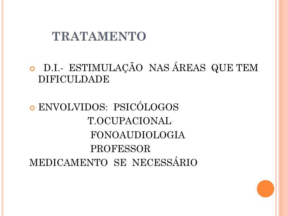 TRATAMENTO D.I.- ESTIMULAÇÃO NAS ÁREAS QUE TEM DIFICULDADE ENVOLVIDOS: PSICÓLOGOS T.OCUPACIONAL FONOAUDIOLOGIA PROFESSOR MEDICAMENTO SE NECESSÁRIO