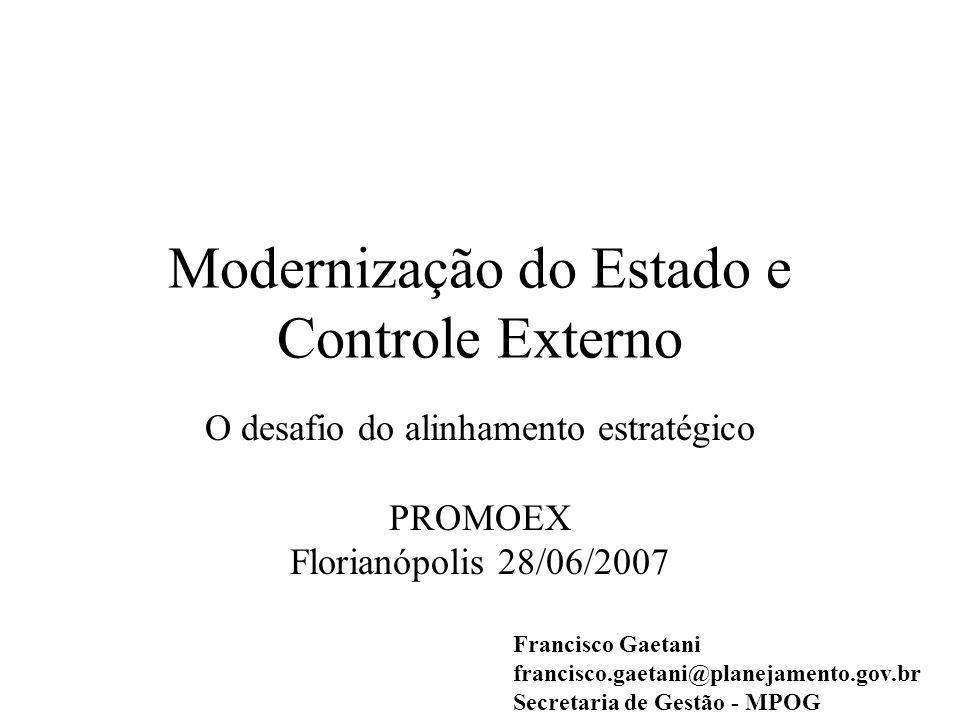 Modernização do Estado e Controle Externo O desafio do alinhamento estratégico PROMOEX Florianópolis 28/06/2007 Francisco Gaetani francisco.gaetani@planejamento.gov.br Secretaria de Gestão - MPOG