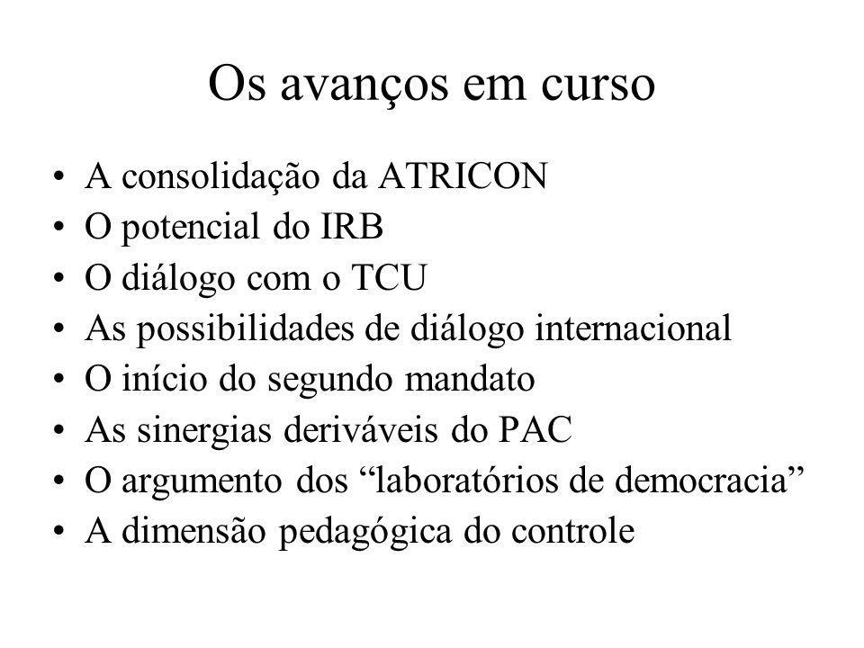 Os avanços em curso A consolidação da ATRICON O potencial do IRB O diálogo com o TCU As possibilidades de diálogo internacional O início do segundo ma