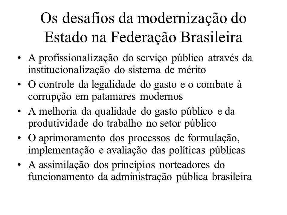 Os desafios da modernização do Estado na Federação Brasileira A profissionalização do serviço público através da institucionalização do sistema de mér