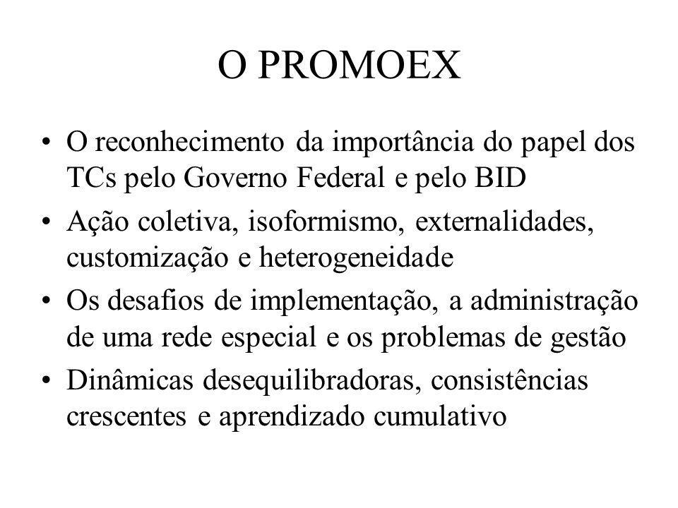 O PROMOEX O reconhecimento da importância do papel dos TCs pelo Governo Federal e pelo BID Ação coletiva, isoformismo, externalidades, customização e