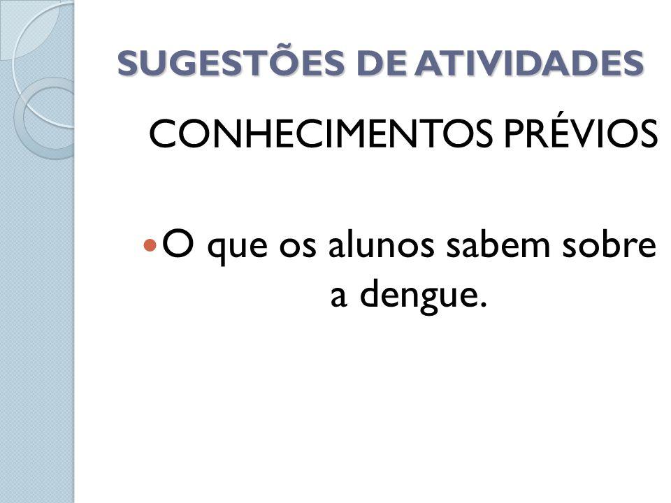 SUGESTÕES DE ATIVIDADES CONHECIMENTOS PRÉVIOS O que os alunos sabem sobre a dengue.