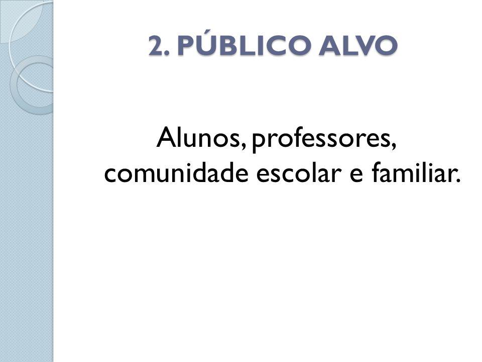2. PÚBLICO ALVO Alunos, professores, comunidade escolar e familiar.