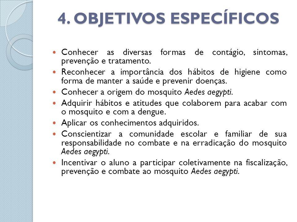 4. OBJETIVOS ESPECÍFICOS Conhecer as diversas formas de contágio, sintomas, prevenção e tratamento. Reconhecer a importância dos hábitos de higiene co
