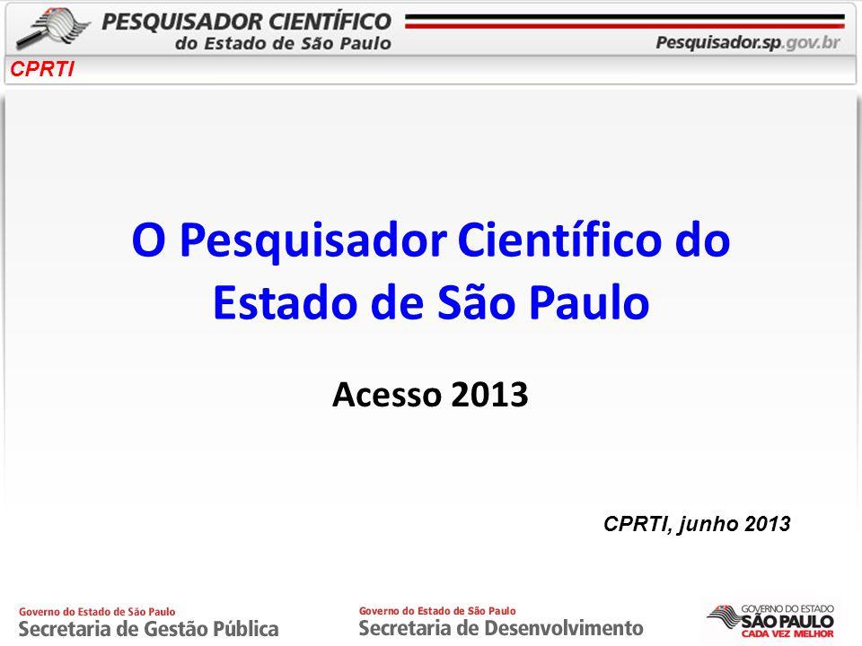 CPRTI O Pesquisador Científico do Estado de São Paulo Acesso 2013 CPRTI, junho 2013