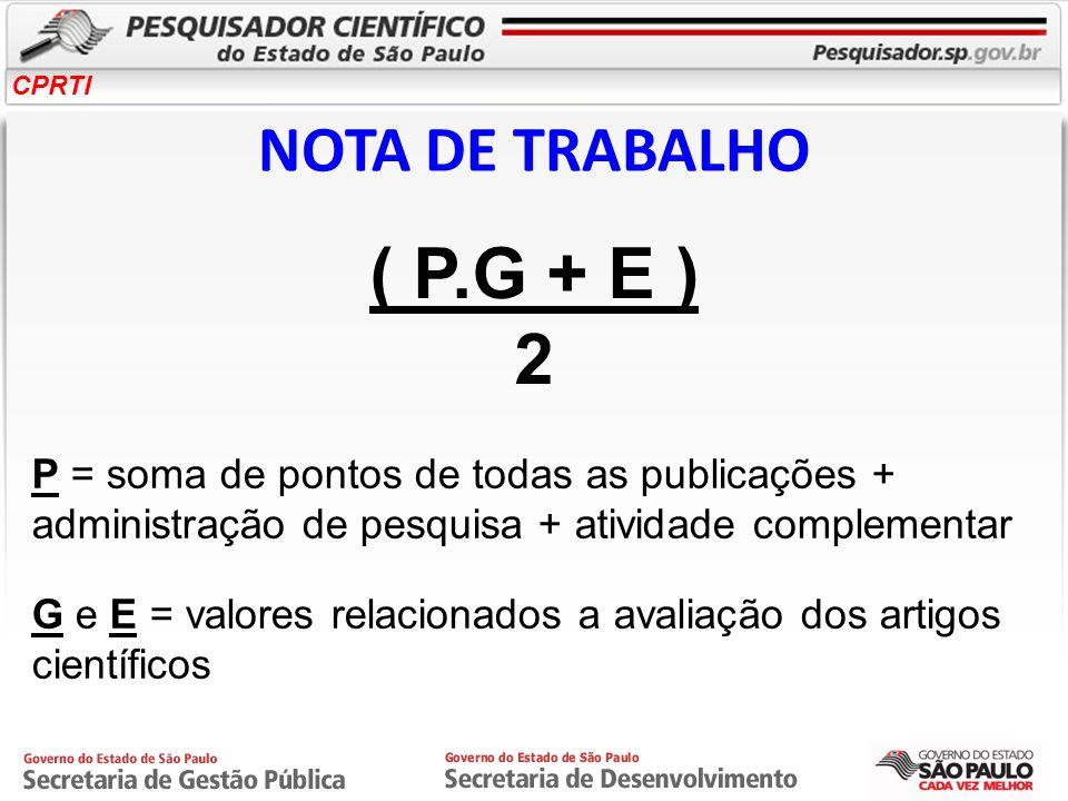 CPRTI NOTA DE TRABALHO ( P.G + E ) 2 P = soma de pontos de todas as publicações + administração de pesquisa + atividade complementar G e E = valores r