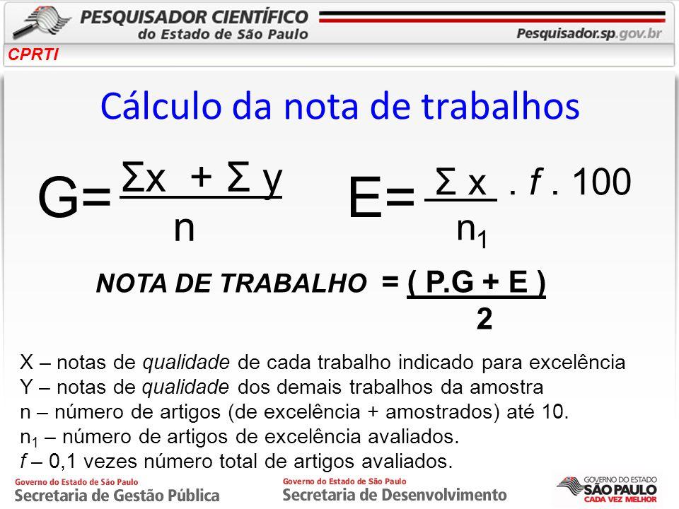 CPRTI Cálculo da nota de trabalhos G=E= NOTA DE TRABALHO = ( P.G + E ) 2 X – notas de qualidade de cada trabalho indicado para excelência Y – notas de
