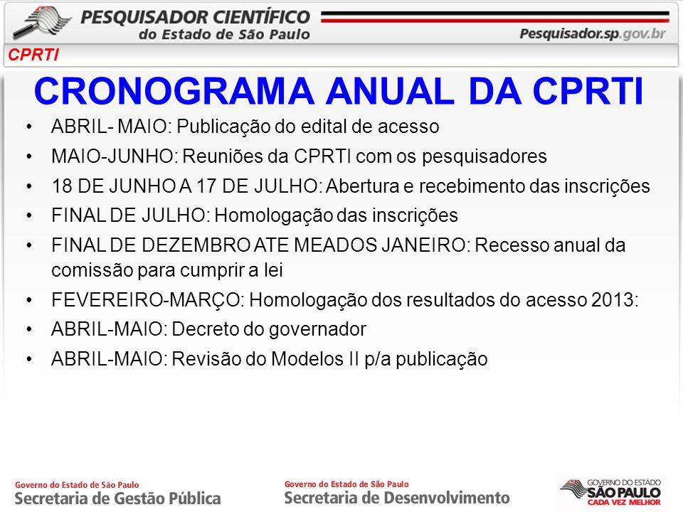 CPRTI CRONOGRAMA ANUAL DA CPRTI ABRIL- MAIO: Publicação do edital de acesso MAIO-JUNHO: Reuniões da CPRTI com os pesquisadores 18 DE JUNHO A 17 DE JUL
