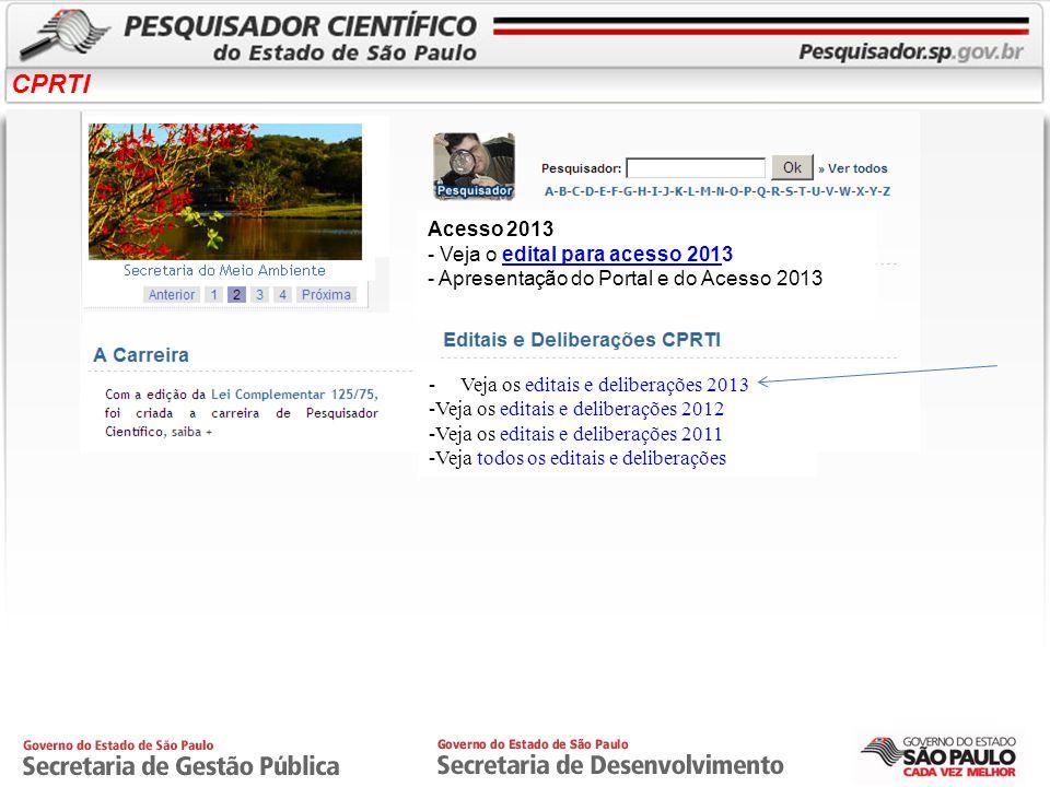 CPRTI Como localizar o pesquisador no Portal? 1) 2)