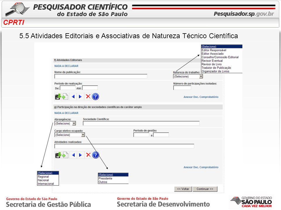 CPRTI 5.5 Atividades Editoriais e Associativas de Natureza Técnico Científica