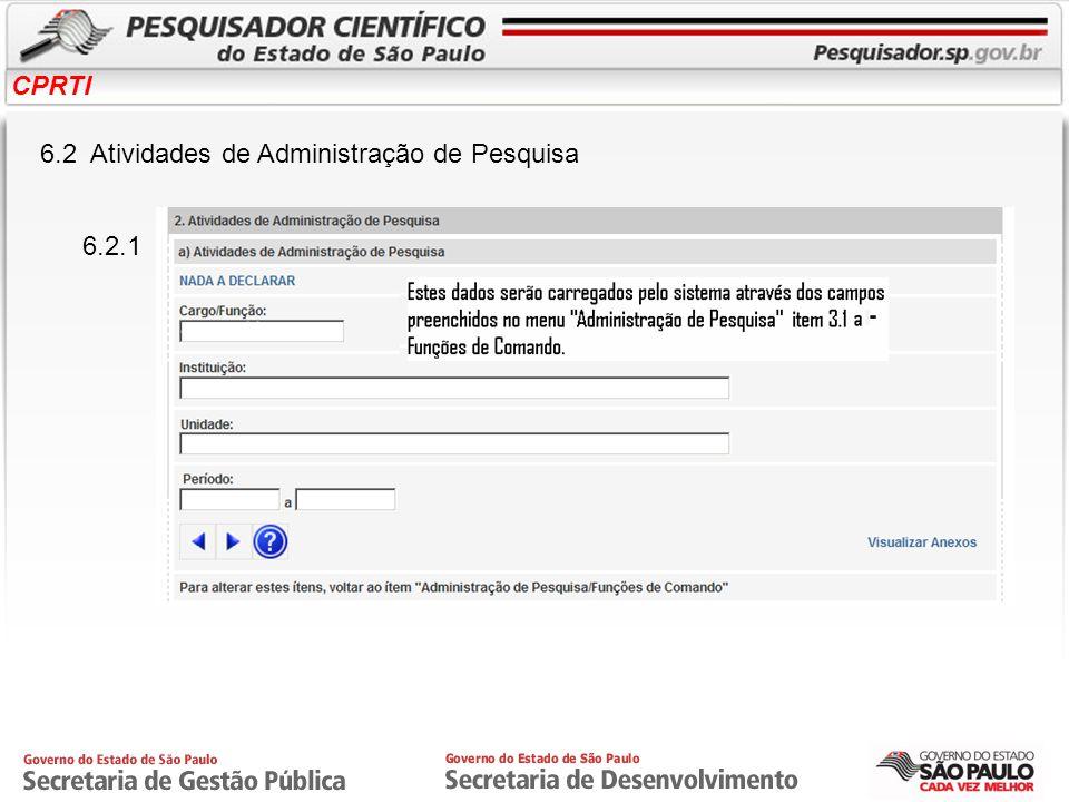 CPRTI 6.2 Atividades de Administração de Pesquisa 6.2.1