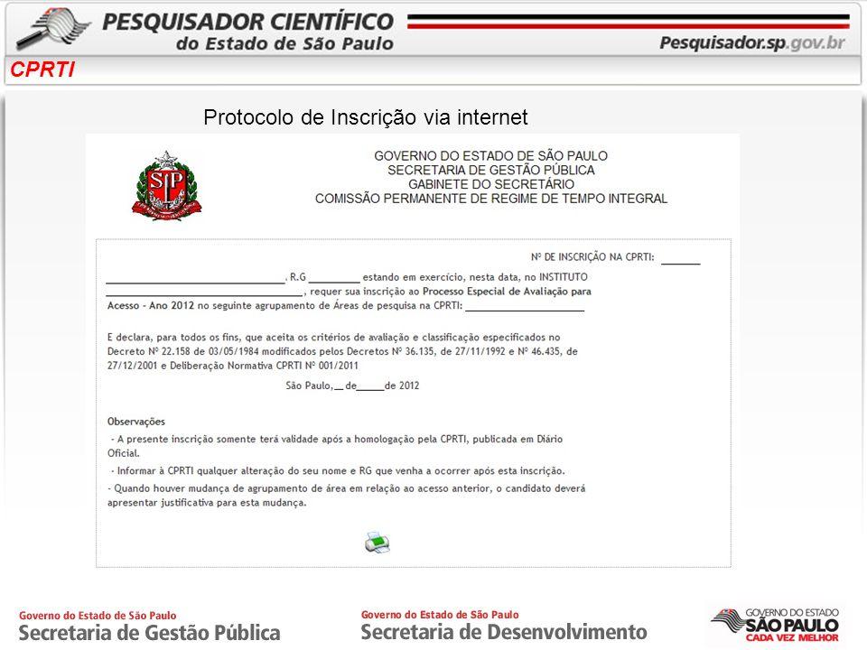 CPRTI Protocolo de Inscrição via internet