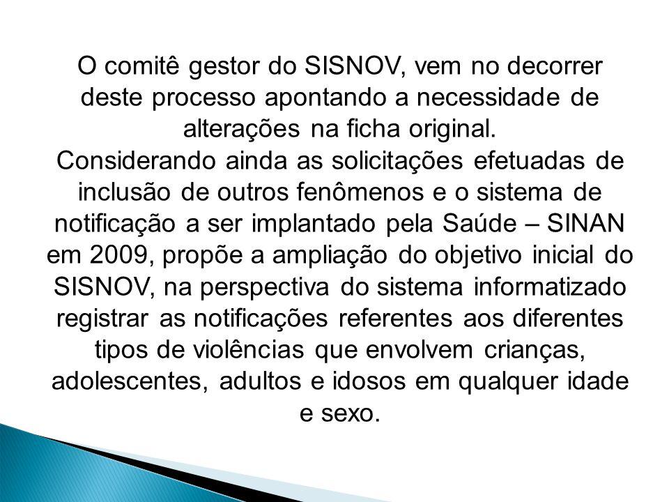O comitê gestor do SISNOV, vem no decorrer deste processo apontando a necessidade de alterações na ficha original.
