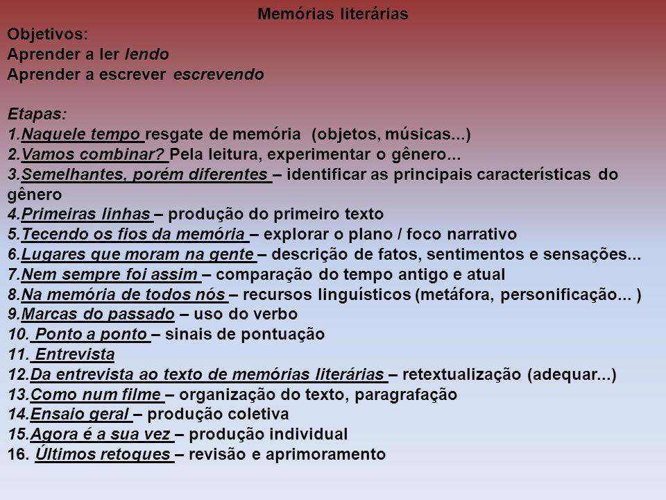 Memórias literárias Objetivos: Aprender a ler lendo Aprender a escrever escrevendo Etapas: 1.Naquele tempo resgate de memória (objetos, músicas...) 2.