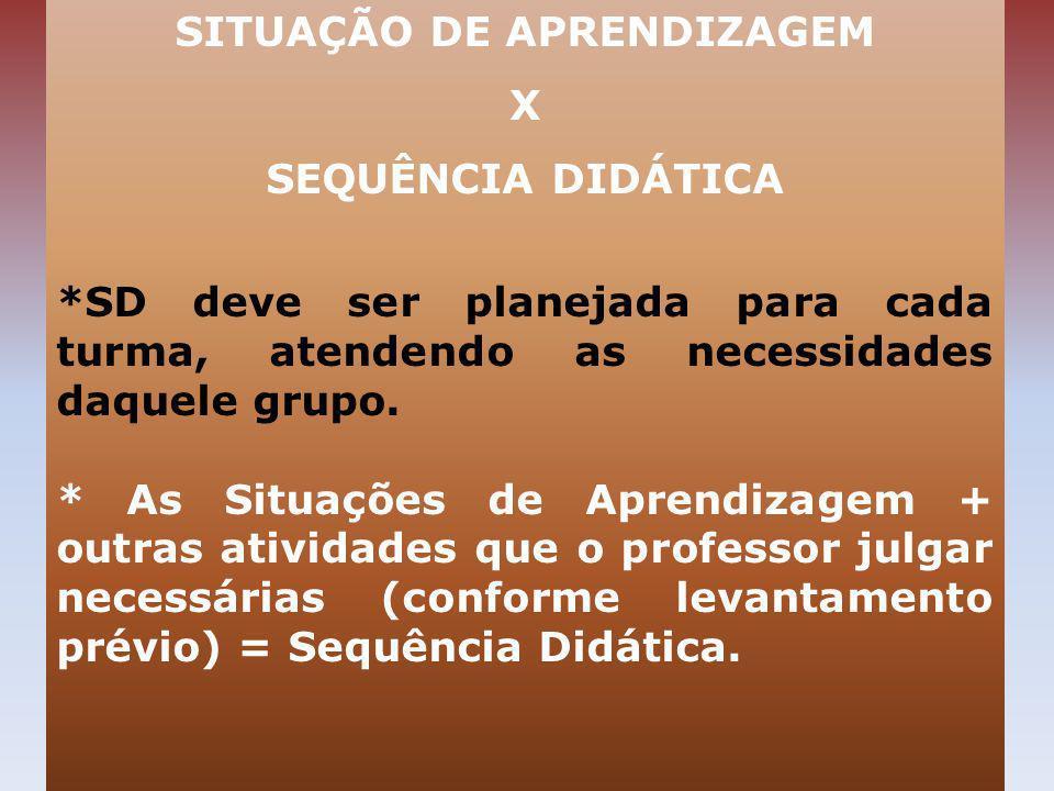 SITUAÇÃO DE APRENDIZAGEM X SEQUÊNCIA DIDÁTICA *SD deve ser planejada para cada turma, atendendo as necessidades daquele grupo. * As Situações de Apren