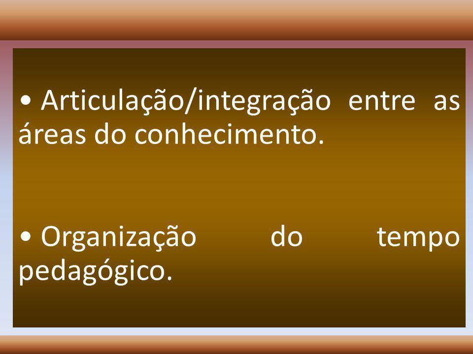 Articulação/integração entre as áreas do conhecimento. Organização do tempo pedagógico.