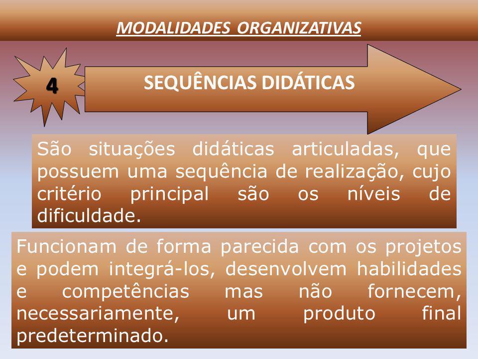MODALIDADES ORGANIZATIVAS SEQUÊNCIAS DIDÁTICAS 4 São situações didáticas articuladas, que possuem uma sequência de realização, cujo critério principal