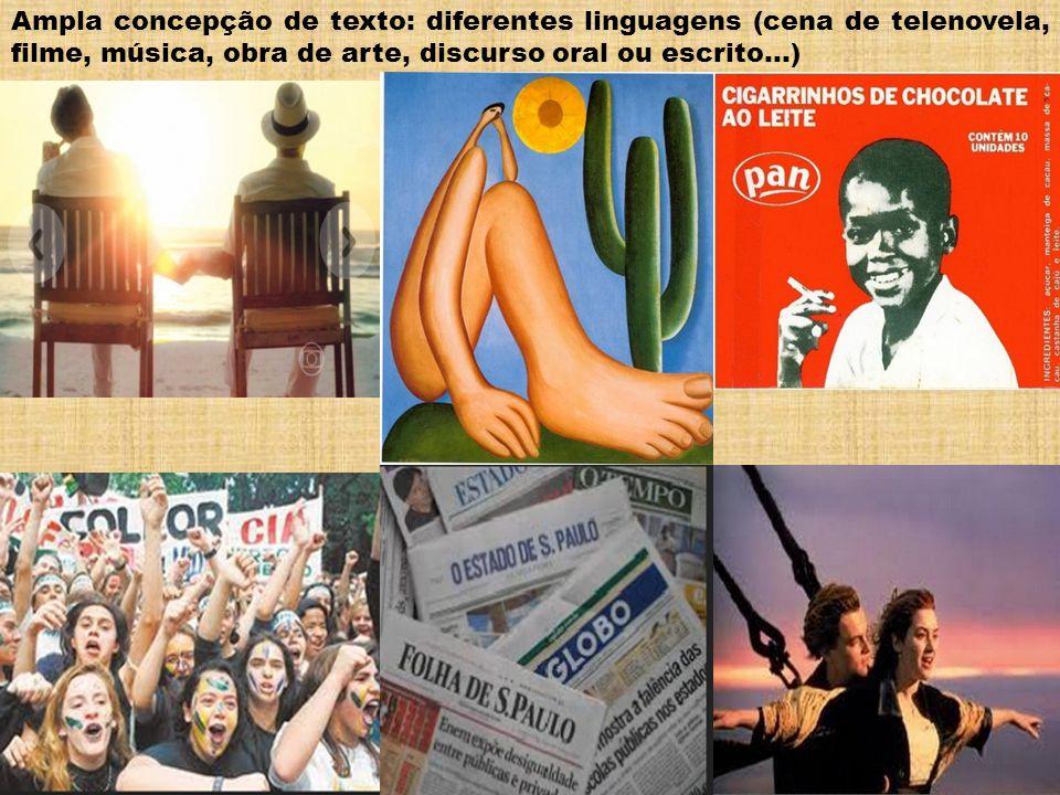Ampla concepção de texto: diferentes linguagens (cena de telenovela, filme, música, obra de arte, discurso oral ou escrito...)
