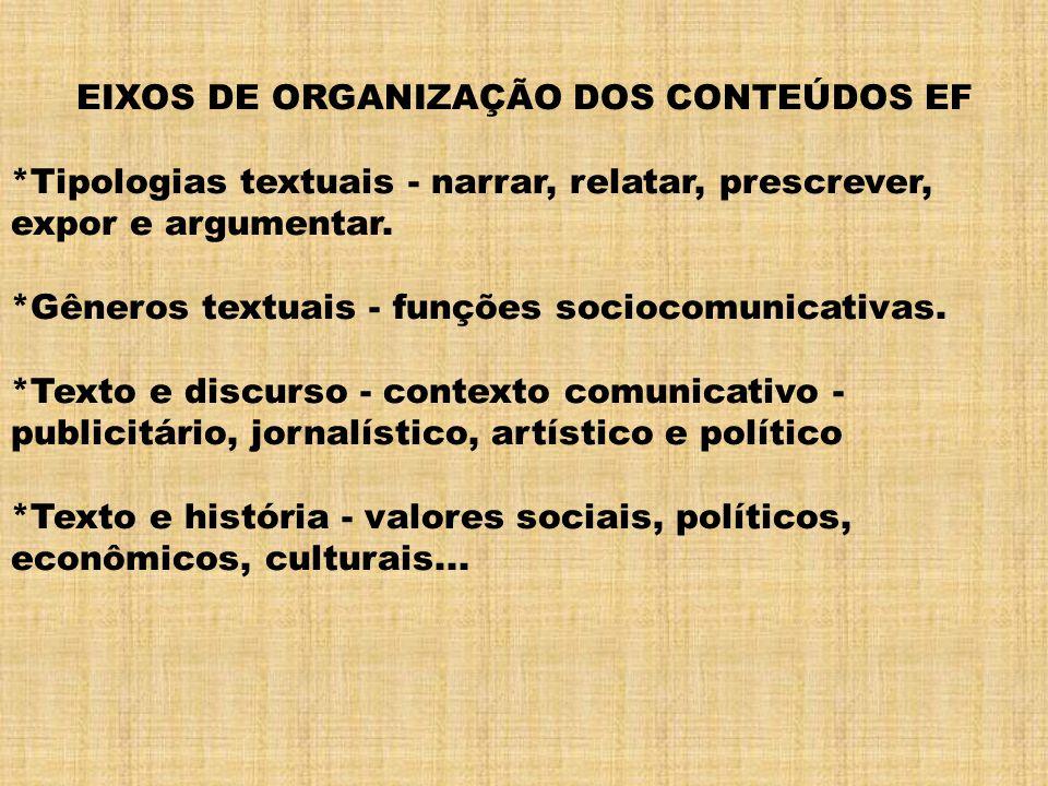 EIXOS DE ORGANIZAÇÃO DOS CONTEÚDOS EF *Tipologias textuais - narrar, relatar, prescrever, expor e argumentar. *Gêneros textuais - funções sociocomunic