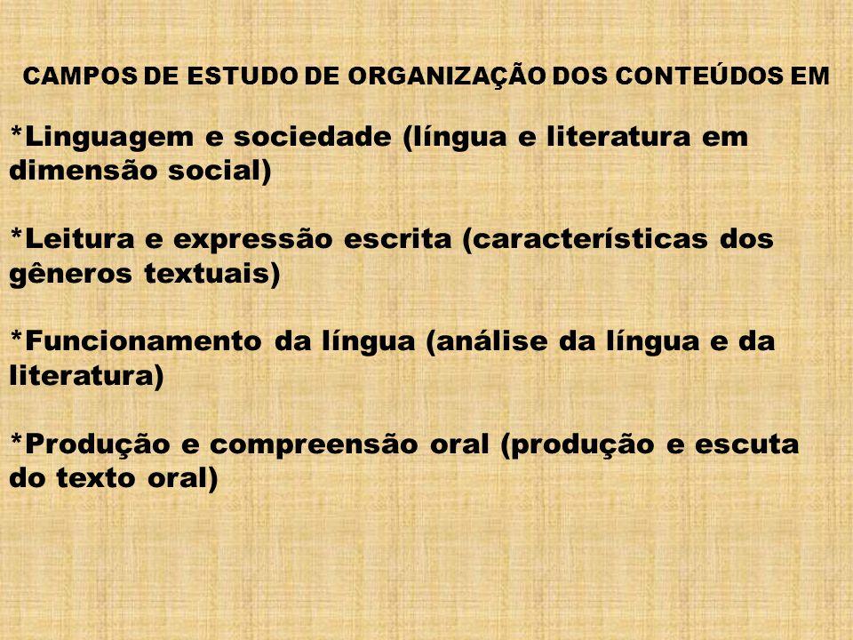 CAMPOS DE ESTUDO DE ORGANIZAÇÃO DOS CONTEÚDOS EM *Linguagem e sociedade (língua e literatura em dimensão social) *Leitura e expressão escrita (caracte
