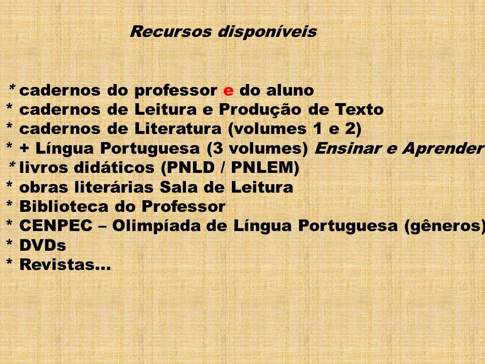 Recursos disponíveis * cadernos do professor e do aluno * cadernos de Leitura e Produção de Texto * cadernos de Literatura (volumes 1 e 2) * + Língua