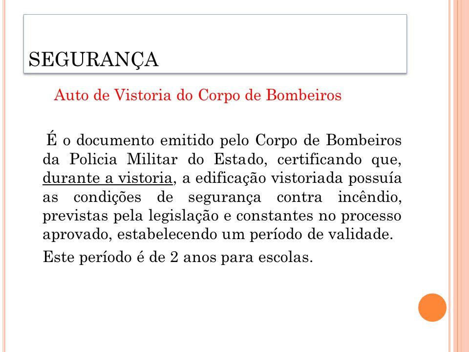 Auto de Vistoria do Corpo de Bombeiros É o documento emitido pelo Corpo de Bombeiros da Policia Militar do Estado, certificando que, durante a vistori